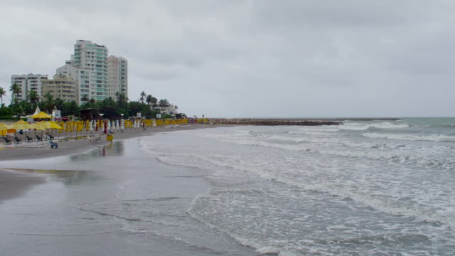 Raining on Hollywood Beach in Cartagena, Colombia
