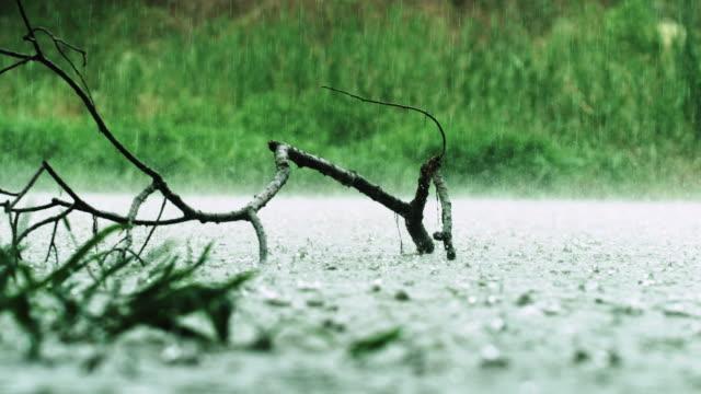 vídeos de stock e filmes b-roll de raining on river surface / eomjeong-myeon, chungju-si, chungcheongbuk-do, south korea - gota a cair na água