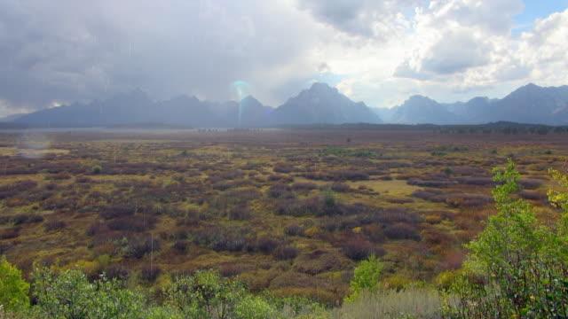 raining shot of grand teton national park plains - grand teton national park stock videos & royalty-free footage