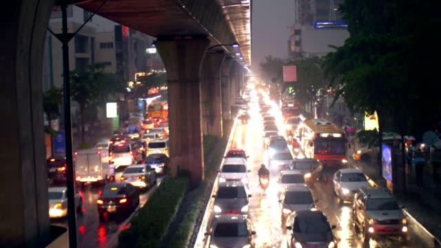 Raining Traffic In Bangkok City