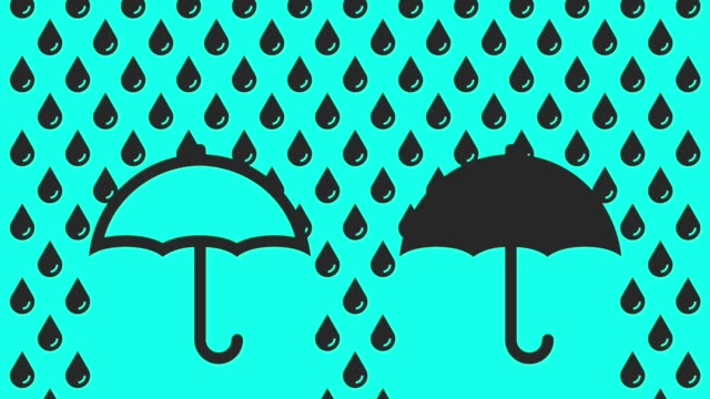 vídeos de stock e filmes b-roll de raining with umbrella - vector animate - chapéu