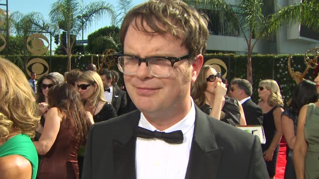 rainn wilson on his nominations, experiencing the emmys, who he's rooting for, who he's wearing. at the 61st annual primetime emmy awards - arrivals... - annual primetime emmy awards stock videos & royalty-free footage