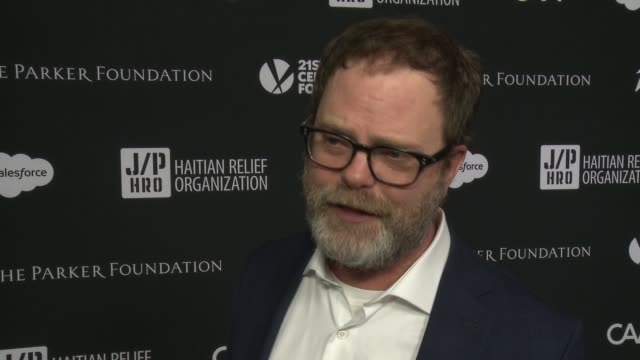 rainn wilson on working with sean's charity and helping haiti at 6th annual sean penn & friends haiti rising gala benefiting j/p haitian relief... - montage beverly hills stock videos & royalty-free footage