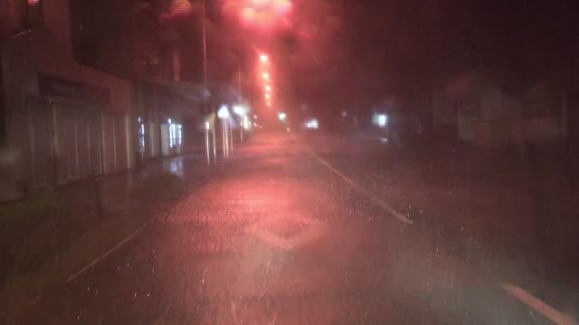 pov; rainstorm at night, tokyo, japan - 集中豪雨点の映像素材/bロール