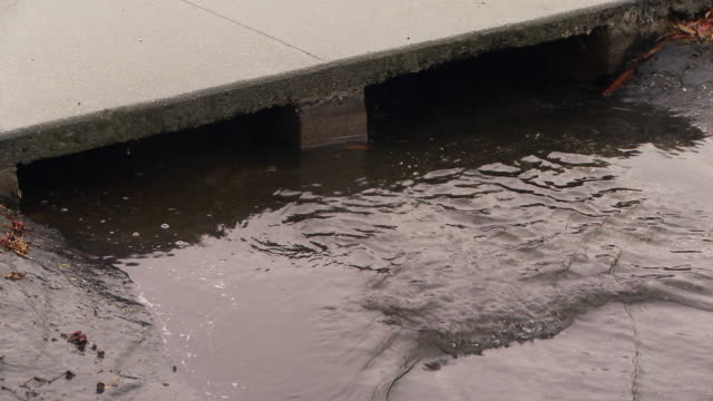 vídeos de stock, filmes e b-roll de rainwater flowing into storm drain - drenagem