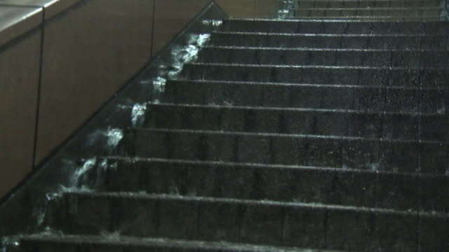 Rainwater Flowing Over Stairs, Miyagi, Japan