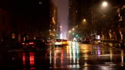 Rainy City Light Reflections