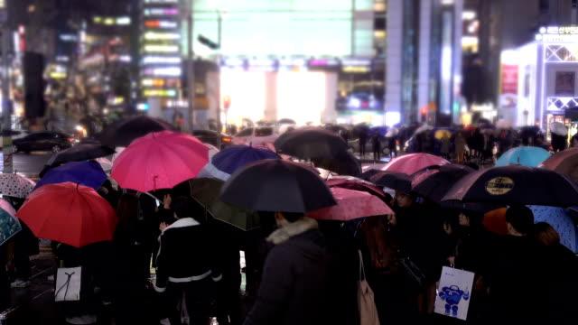 rainy day at gangnam street, south korea - south korea stock videos and b-roll footage