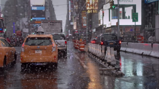 rainy day in times square - traffic cone stock videos & royalty-free footage