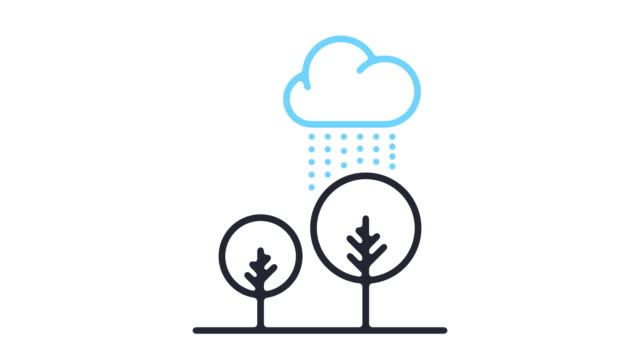 rainy day line icon animation - climate icon stock videos & royalty-free footage