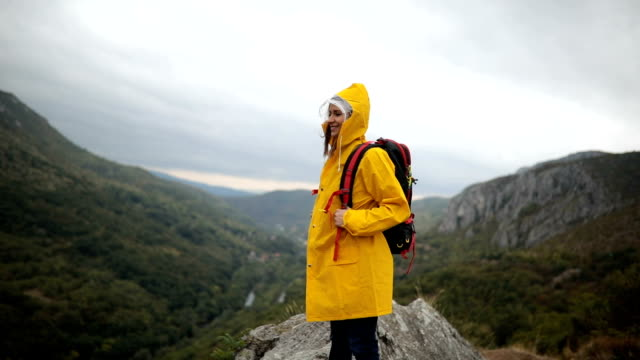 rainy day on mountain - waterproof clothing stock videos & royalty-free footage