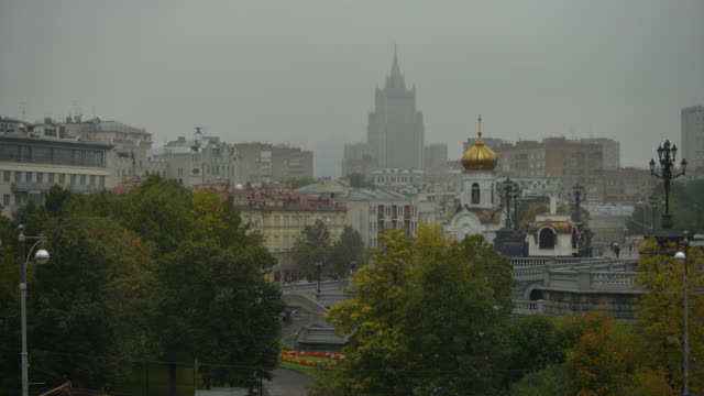 t/l ws rainy day skyline in moscow, russia - westernisation stock videos & royalty-free footage