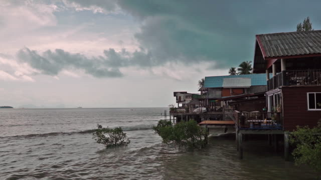 rainy monsoon season, old town, ko lanta, thailand - ko lanta stock videos & royalty-free footage