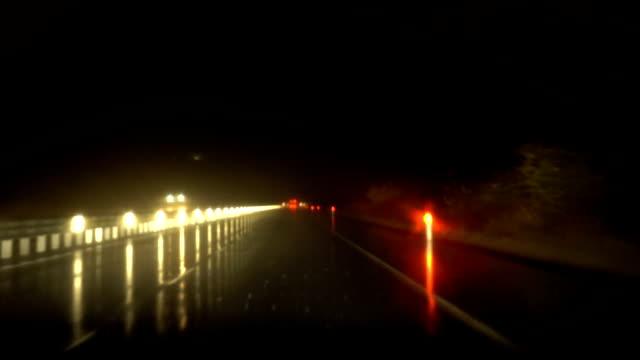 Rainy Night Highway Traffic