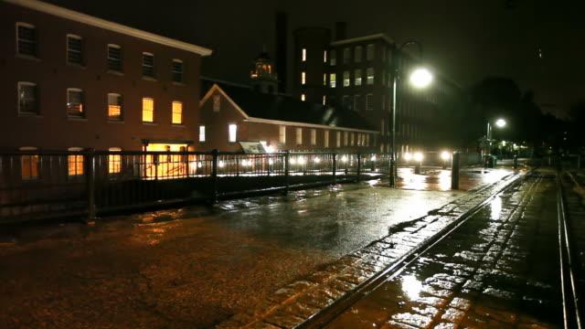 rainy night in lowell, massachusetts - lowell stock videos & royalty-free footage