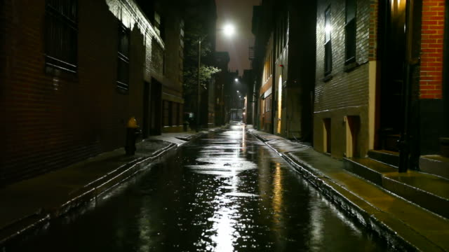 rainy night in the city - alley stock videos & royalty-free footage
