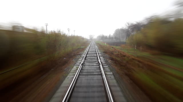 Rainy railroad travel