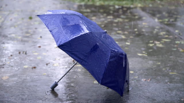 4k regnperiod med blått paraply på golvet - blöt bildbanksvideor och videomaterial från bakom kulisserna