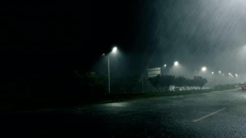 rainy street at night - shower stock videos & royalty-free footage