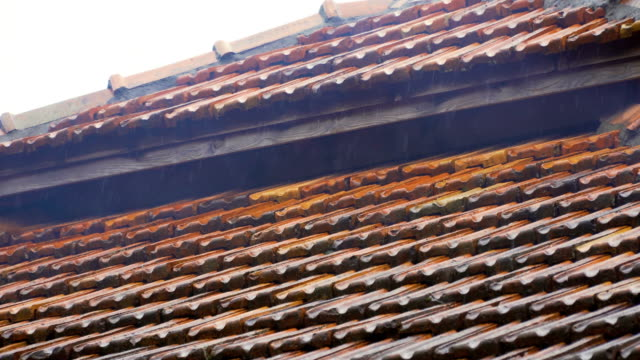 Rainy weather, raindrops flowing down roof tiles