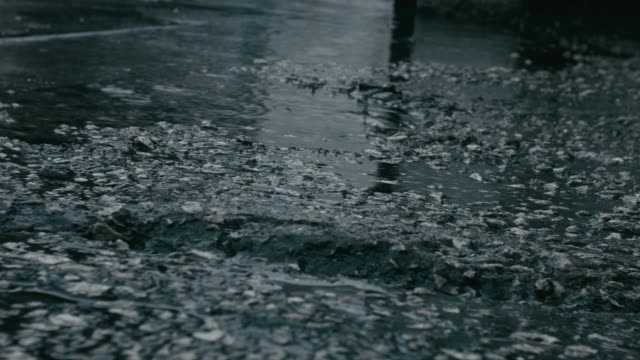 Rainy weather with physical sound of rain and an asphalt road with pebbles,  gravel, water ponds and raindrops