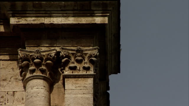 raised carved details decorate the square and rounded pillars of san biagio of montepulciano. available in hd. - montepulciano stock videos & royalty-free footage