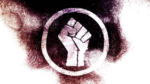Raised fist symbol on a high contrasted grungy and dirty, animated, distressed and smudged 4k video background with swirls and frame by frame motion feel with street style for the concepts of solidarity,support,human rights,worker rights,strength