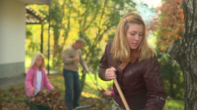 vídeos de stock e filmes b-roll de carrinho de hd: raking folhas - ancinho equipamento de jardinagem