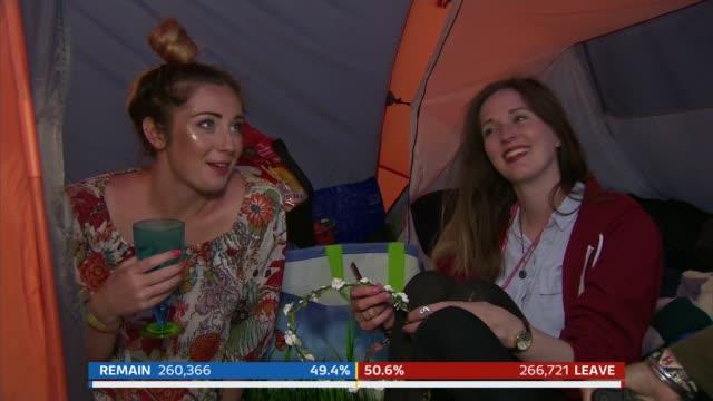 ralling and bradby sot somerset: glastonbury: ext / night nina nannar sot day vox pops [people at glastonbury festival] night nannar sot split screen... - ニナ・ホサイン点の映像素材/bロール