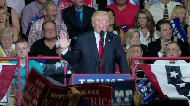 rally at a high school donald trump campaigns in harrisburg pennsylvania - secondary school stock videos & royalty-free footage