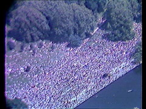 b england london knightsbridge march in knightsbridge hyde park airv marchers in hyde park gv demos in hyde park pan lr ms marchers towards carrying... - symbol stock videos & royalty-free footage