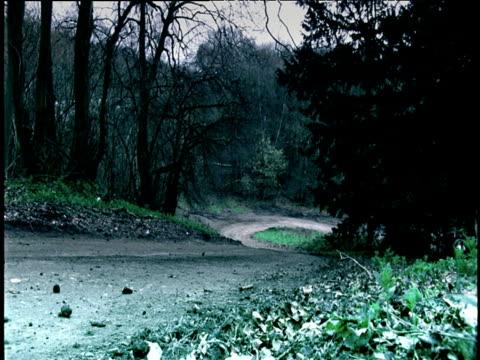 rally car speeds uphill along winding country lane england - 横滑り点の映像素材/bロール