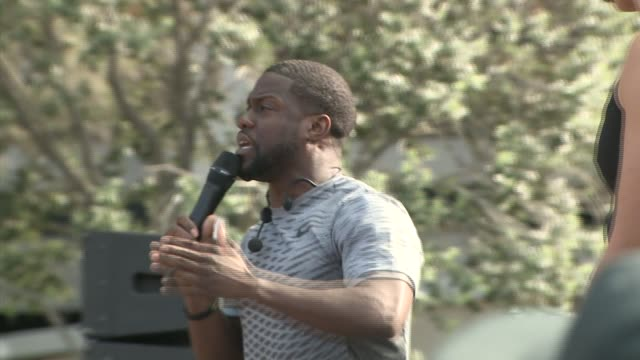 rally healthfest with comedian kevin hart in los angeles on april 11, 2016. - comedian stock videos & royalty-free footage