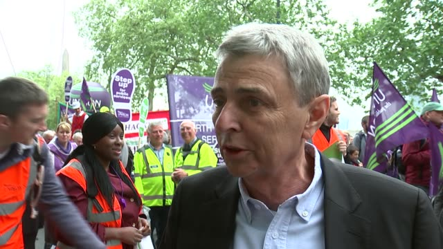 GVs and interviews ENGLAND London Embankment Dave Prentis interview SOT Dave Prentis with UNISON protesters