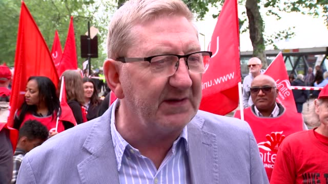 GVs and march to Hyde Park ENGLAND London Embankment Len McCluskey interview SOT