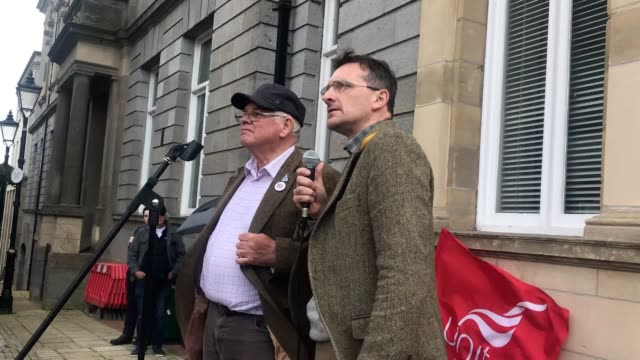 rally organiser donal o'cofaigh speaks at the demonstration for victims of alleged child sexual abuse in enniskillen he is calling on psni to take... - pedophilia stock videos and b-roll footage