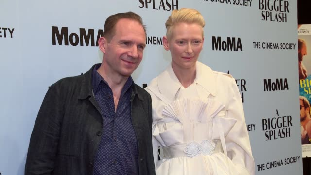 Ralph Fiennes and Tilda Swinton at 'A Bigger Splash' New York Screening Presented By Fox Searchlight at MoMA Titus One on April 21 2016 in New York...