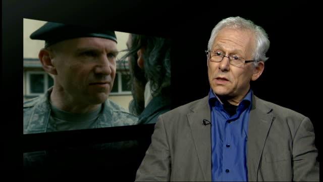 ralph fiennes directs and stars in film of 'coriolanus'; professor brean hammond interview sot - on setting film in balkans - レイフ・ファインズ点の映像素材/bロール