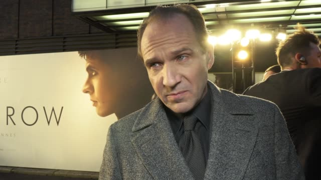 ralph fiennes on directing, acting, ballet dancing and oleg ivenko on march 12, 2019 in london, united kingdom. - レイフ・ファインズ点の映像素材/bロール