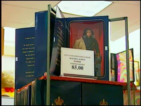 ralph lauren's special edition barbie on display - bloomingdales stock videos & royalty-free footage