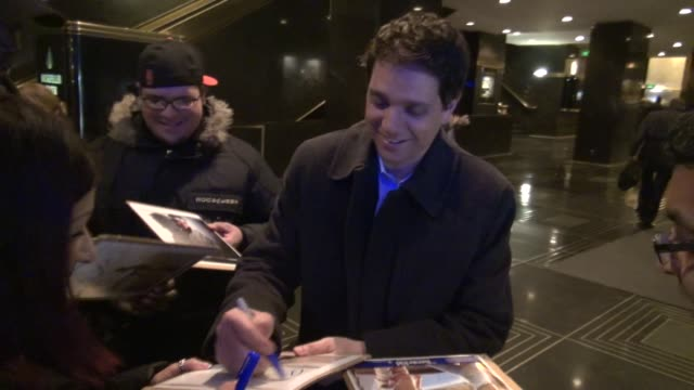 Ralph Macchio signs for poses with fans in the lobby of NBC Studios in Rockefeller Center in Celebrity Sightings in New York
