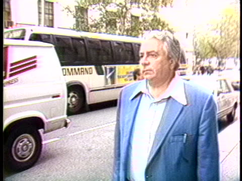 ralph scopo boss of the colombo family in charge of running the mobcontrolled cement workers union walks along a street in new york city - crime or recreational drug or prison or legal trial video stock e b–roll