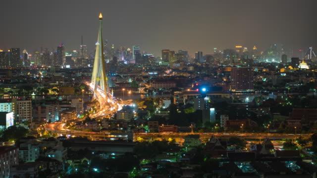 stockvideo's en b-roll-footage met rama viii brug is een tuibrug over de chao phraya rivier in bangkok, thailand - getal 8