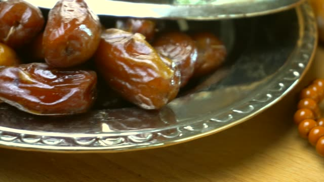 ramadan meal with pita, date - fruit and turkish bacon. - turkey middle east stock videos & royalty-free footage