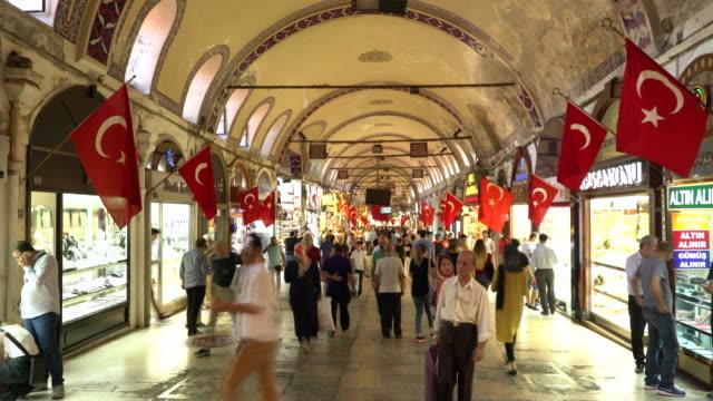 ramadan shopping in grand bazaar in istanbul. timelapse - grand bazaar istanbul stock videos & royalty-free footage
