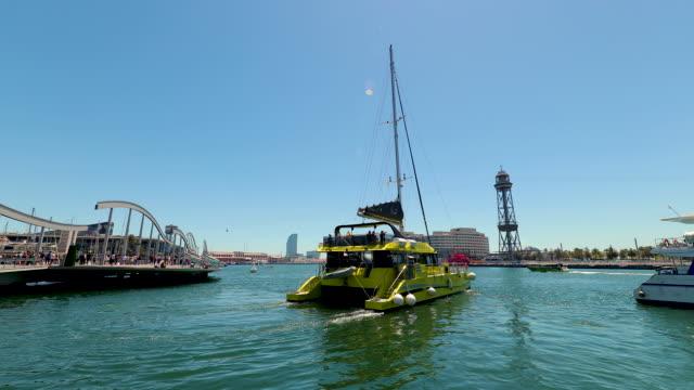 rambla de mar walkway & bridge, barcelona, spain - mar stock videos & royalty-free footage