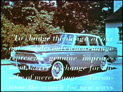 vidéos et rushes de rambler american four-door sedan parked in driveway; text scrolls onscreen followed at the end by amc ceo george romney's signature.-----narrator on... - voiture particulière