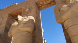 Ramesseum - the memorial temple of Pharaoh Ramses II XIII century BC , part of the Theban necropolis in Upper Egypt, Luxor