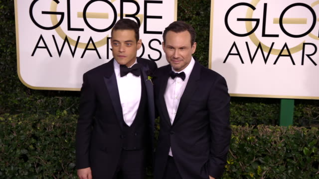 rami malek and christian slater at 74th annual golden globe awards arrivals at 74th annual golden globe awards arrivals at the beverly hilton hotel... - christian slater stock videos & royalty-free footage
