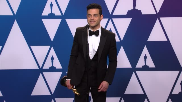 rami malek at the 91st academy awards - press room at dolby theatre on february 24, 2019 in hollywood, california. - academy awards stock-videos und b-roll-filmmaterial